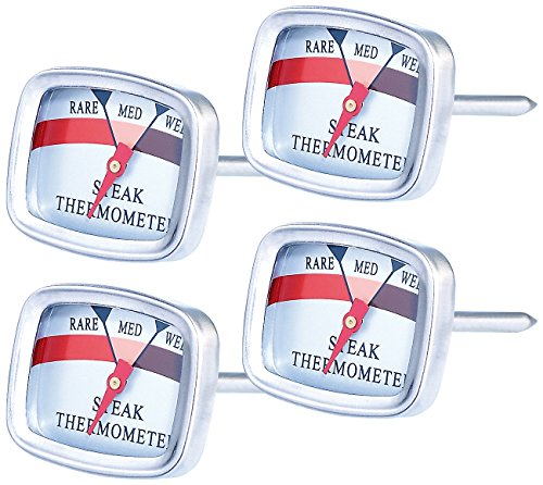 Rosenstein & Söhne Brat Grill Thermometer: 4er-Set Steak-Thermometer (Fleisch Thermometer für Küchen)