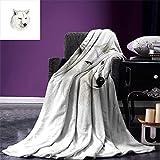 yunge Manta cálida de Lobo Cabeza Canina Blanca con Gran Detalle Cazador Mamífero Vida Silvestre Escena de la Naturaleza Arte Impresión Manta de Arte