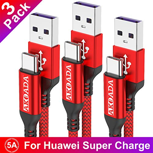 USB Typ C Kabel 5A, AKOADA [3 Stück 0.5M+1M+2M] Schnell Ladekabel für Huawei P30 P20 pro P20 Mate 30 20 10 pro Honor 10 V10 P10 Plus Mate 30 pro usw(Rot)