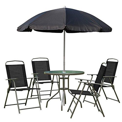 Outsunny 1571260031 - conjunto de muebles para jardin terraza o patio con 4 sillas 1 mesa y 1 parasol - textilene, aluminio y poliester ⭐