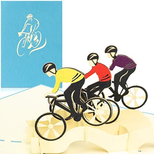 PaperCrush® Pop-Up Karte Fahrradtour mit Rennrad - 3D Geburtstagskarte als Gutschein oder Geldgeschenk für Fahrrad - Lustiges Geschenk zum Geburtstag für Rennradfahrer, Radfahrer