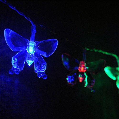 Schmetterling-LED-Lichterkette von LightsGo, USB-Anschluss, 20LEDs, 2m, für PC, Mac, Handy-Ladegerät 20LED 2M Mehrfarbig