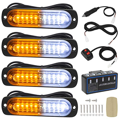 Linkitom 4pcs Ultra Slim Sync Feature 10-LED Emergency Hazard Warning Strobe Lights with Main Control Box Surface Mount (Amber&White)