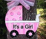 Ruskin352 Hospital Door Hanger Its a Girl Baby Carriage Polk a dot blueHospital Wreath Baby Wreath Baby Decor Baby Sign