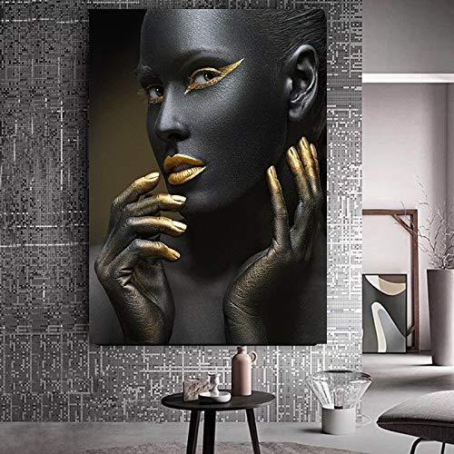 wZUN Carteles e Impresiones de Pintura al óleo de Estilo nórdico de Mujer de Arte Africano Desnudo Dorado Negro en la Pared de la Sala de Estar 60x80 Sin Marco