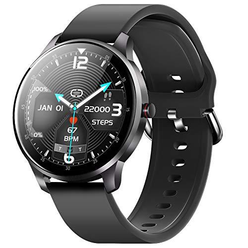 CUBOT W03 - Reloj inteligente para hombre y mujer, pantalla táctil de 1,28 pulgadas, IP68 resistente al agua, podómetro con monitor de sueño, para Android/iOS, color negro