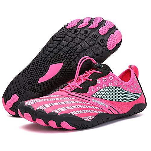 Zapatos de agua para hombre, zapatos descalzos para correr, gimnasio, fitness, senderismo, caminar, secado rápido, Rosa roja, 6.5UK