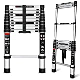 Augtarlion Aluminum Telescoping Ladder, 10.5 FT Collapsible Ladder with Locking Mechanism, Heavy Duty 330lbs Max Capacity Extension Ladder, Multi-Purpose Compact Ladder for Household Or Outdoor Work
