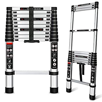Augtarlion Aluminum Telescoping Ladder 10.5 FT Collapsible Ladder with Locking Mechanism Heavy Duty 330lbs Max Capacity Extension Ladder Multi-Purpose Compact Ladder for Household Or Outdoor Work