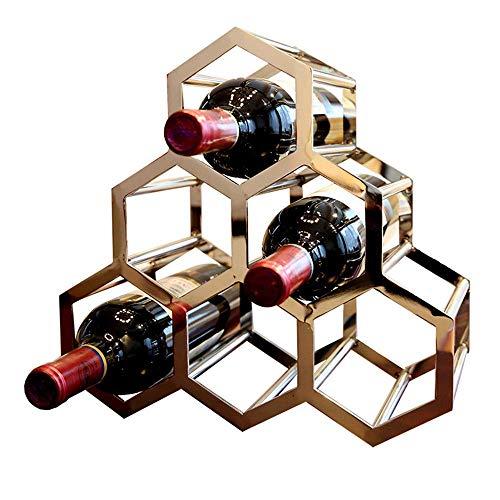 Estante de Vino Poligonal apilable de 3 Niveles, botelleros de Estilo metálico para Botellas, Bar, Bodega, sótano, gabinete, etc, Capacidad para 6 Botellas