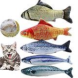 Netspower Spielzeug mit Katzenminze, 5PCS Katze Interaktive Spielzeug, 20CM Simulation Fisch, Kissen Kauen Spielzeug Set, Simulation Plush Fisch Shape für Katze/Kitty/Kätzche