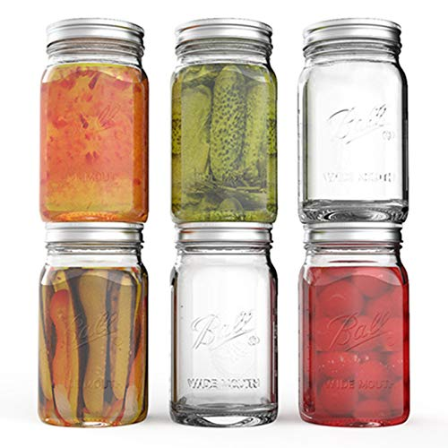 Tebery 32oz Clear Glass Jars Ball Pack of 6 Mason Jars Wide Mouth Preserving JarsCanning Glass Jars with Lids