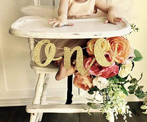 Hongkai Glitter Gold 1st Birthday Highchair Banner Boy Girl Baby Birthday ONE Banner One High Chair Sign Baby First Birthday One Photo Prop Party Decorations