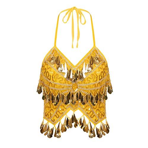 ranrann Crop Top de Danza del Vientre Lentejuelas para Mujer Traje de Baile Latino con Flecos Cuello Halter Tango Cha Cha Dancewear Traje de Actuacin Color 8 Talla nica