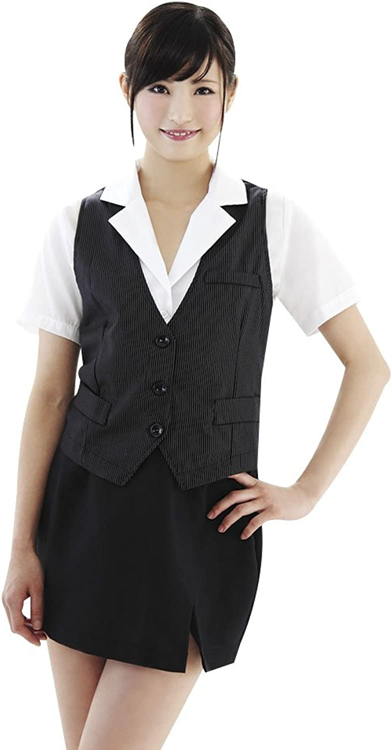 [OL] Be With Fashion 4   navy Blau pin striped vest with OL uniform (japan import) B007KX3B1K  Adoptieren  | Mode-Muster