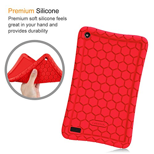 Fintie Silicone Case for All-New Amazon Fire 7 Tablet (7th Generation, 2017 Release) - [Honey Comb Upgraded Version] [Kids Friendly] Light Weight [Anti Slip] Shock Proof Protective Cover, Red