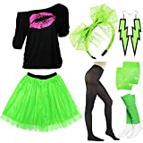 80s Clothes Accessories for Womens,Lips Print Off Shoulder Shirt,Lace Tutu Skirts for 80s Costumes,Green,XXL