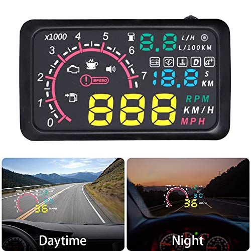 Head Up Display 5.8inch Keenso Car Universal Over Speed Alarm Speedometer HUD Head Up Display KMH Windshield Projection Film for Cars Navigation Other Vehicles
