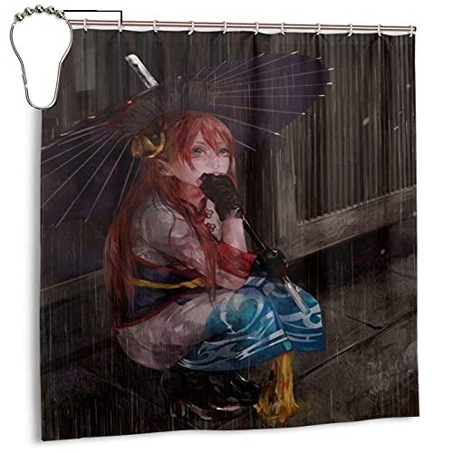 MINLE Cortina de ducha de lluvia, cortina de ducha de bañera, impermeable, cortina de ducha de baño con 12 ganchos de hierro, (172 x 172 cm)