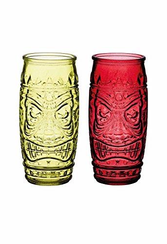 KitchenCraft Bar Craft Tiki Cocktail Gläser, Rot/Grün, 600ml, 2Stück