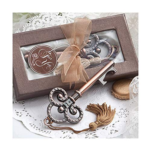 takestop® blikopener flesopener 6 stuks sleutel met nappaleder brons CC_5868b doos voor post, gastgeschenk bruiloft