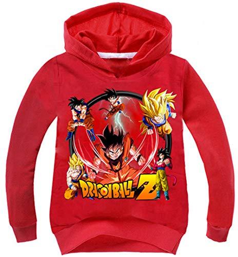 Silver Basic Felpa con Cappuccio per Ragazzi Dragon Ball Bambino Goku Super Sweatshirt,Rosso B-2,120…