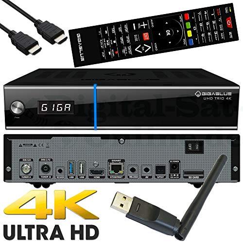 GigaBlue UHD Trio 4K 2160p 1xDVB-S2X MS 1xDVB-C/T2 Tuner E2 Linux Receiver Schwarz inkl. Octagon WLAN USB Stick 150Mbit +2dB Antenne