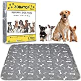 ZOBAYOP Washable Pee Pads for Dogs Reusable Waterproof Puppy Mat Small (2-Pack) 24 x 16 Cloth Potty Whelping Training Pad Extra Absorbent Pet Mat Grey S