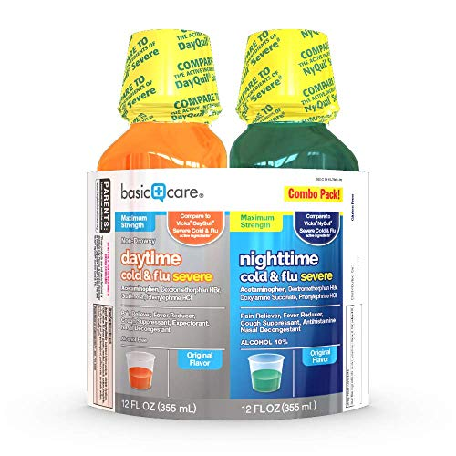 Basic Care Daytime Severe and Nighttime Severe Cold & Flu Relief Combo Pack; Cold and Flu Medicine For Sore Throat, Fever and Cough, 24 Fluid Ounces