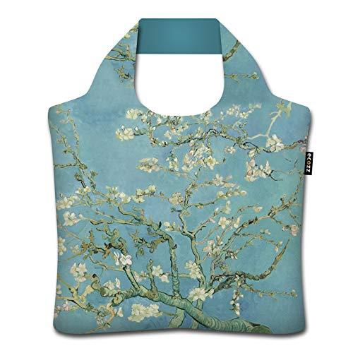 ecozz Almond Blossoms - Vincent Van Gogh, faltbar, Einkaufstasche mit Reißverschluss, Wiederverwendbar, Tragetasche, Handtasche, Tote Bag, Strandtasche, Umweltfreundlich, Einkaufsbeutel