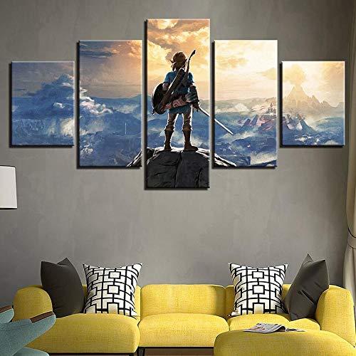 BXZGDJY Leinwandbild Hauptdekoration Wandkunst 5 Stück Zelda Animation Charakter Hängen Bild Modularen Druck Animationsspiel Poster Wohnzimmer 200X100CM Bild Bilder auf Leinwand 5 teilig Poster für