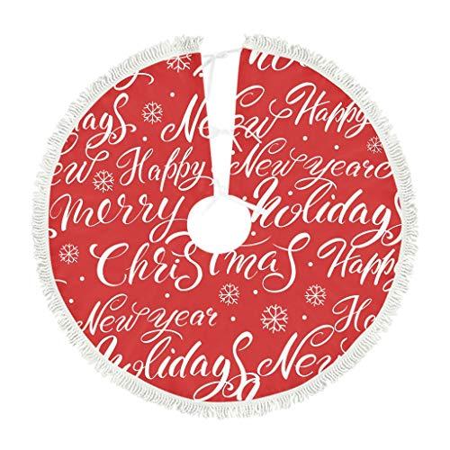 ATag-Leggings Christmas Red Christmas Tree Skirt Xmas Tree Decorations for Farmhouse Party White 122x122cm