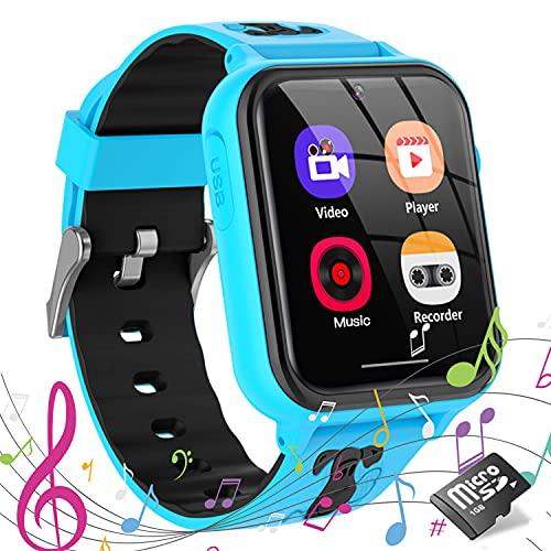 Smartwatch Kinder Uhr Smartwatches Telefon mit Musik SOS Spiele Kamera Stoppuhr Wecker Rekorder Rechner Touchscreen Uhr Anruf Kinder Geschenke Geburtstag für Jungen und Mädchen (Blau)