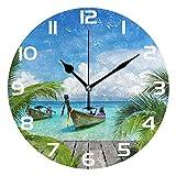WellLee Tropical Beach Sea Boat Sunny Nature Seashore Clock Acrylic Painted Silent Non-Ticking Round Wall Clock Home Art Bedroom Living Dorm Room Decor