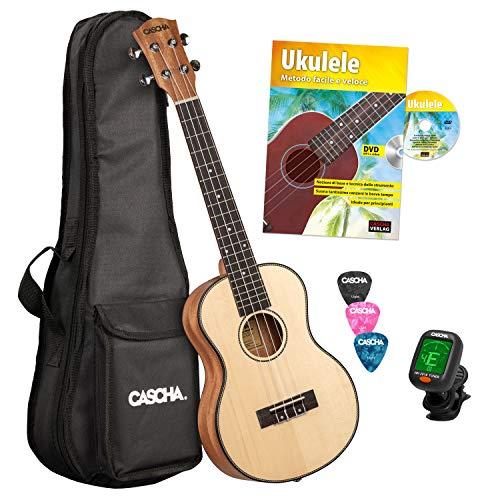 Cascha Ukelele Tenor Profesional Solid Top Kit de Aprendizaje Ukelele con Accesorios Cuerdas Aquila, Libro de Ukelele, Bolsa Acolchada, Afinador y 3 Púas