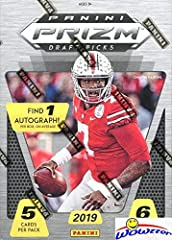 Brand NEW Super Hot 2019 Panini Prizm Draft Picks Football EXCLUSIVE Factory Sealed Retail Box Includes One AUTOGRAPH ROOKIE CARD from the Amazing 2019 NFL Draft Class! Look for Rookies & Autographs of Heisman Trophy Winner KYLER MURRAY!! Also Look f...