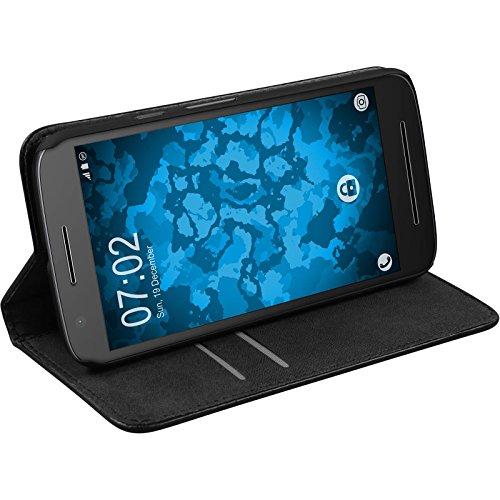 PhoneNatic Kunst-Lederhülle kompatibel mit Lenovo Moto E3 - Book-Hülle schwarz + 2 Schutzfolien