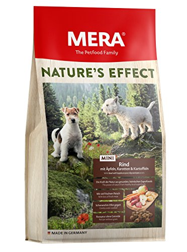 Mera Nature Effect Mini, graanvrij hondenvoer, premium droogvoer voor kleine honden met rundappels, wortelen, aardappelen, per stuk verpakt (1 x 1 kg)
