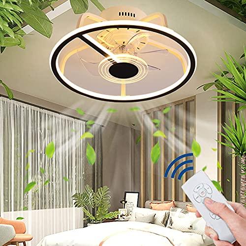 XKAI Ventilador de Techo LED con Lámpara y Mando a Distancia Moderno Ventilador de Techo Silencioso con Luz, Lámpara de Techo de Ventilador Regulable para Dormitorio Sala de Estar, 3000K~6000K, Ø45CM