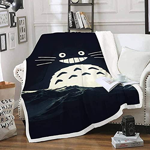 Amacigana Totoro - Manta de forro polar para cama y sofá (100% microfibra, 150 cm x 200 cm)