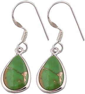 Pendientes de turquesa verde pera, pendientes de gota, pendientes colgantes, pendientes de plata con piedras preciosas de color para mujeres Sterling Silver Drop Earrings
