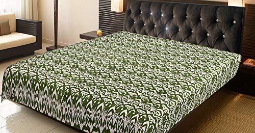 Indian-Shoppers Colcha bohemia con estampado de Ikat verde, hecha a mano, manta hippie kantha de algodón, colcha hippie hecha a mano