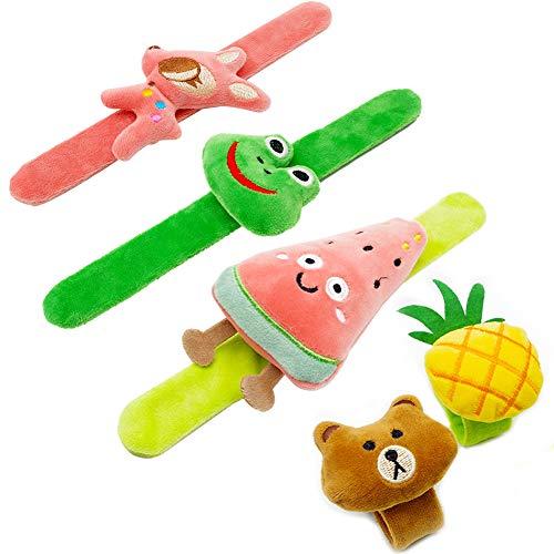EQLEF Slap Bracelet Lindas Bandas de Animales y Frutas para Bolsos de Fiesta, Flurry y Kit de Cintura Suave para niñas y niños (5 Piezas)