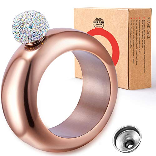 BOKIN Bracelet Bangle Flask 304 Stainless Steel Wine/Alcohol Wrist Flasket with Handmade Rhinestone Lid, Funnel in Gift Box for Women Girls Dance Birthday Party Club Bar, 3.5oz, Rose Gold