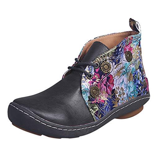 Damen SchnüRstiefel, Retro Frauen Leder Flache SchnüRung Blumendruck Kurze Stiefeletten Runde Zehen Schuhe Flache Leder Stiefel Schuhe Kurze Stiefel