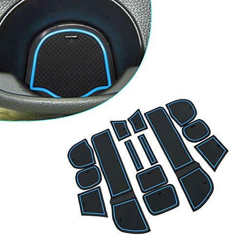 Muchkey pour 2009-2011 Fit Intérieur Coupe Porte Mat Tapis de Cuir Voiture Style Anti Poussière Antidérapante Tapis 14 pièces par Set Bleu