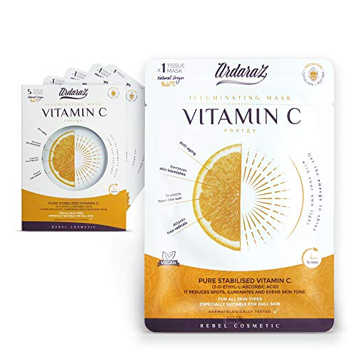 Ardaraz - Mascarilla Facial Hidratante Antiarrugas Iluminadora - Impregnada en Sérum concentrado de Vitamina C - Mascarillas faciales Pack de 5