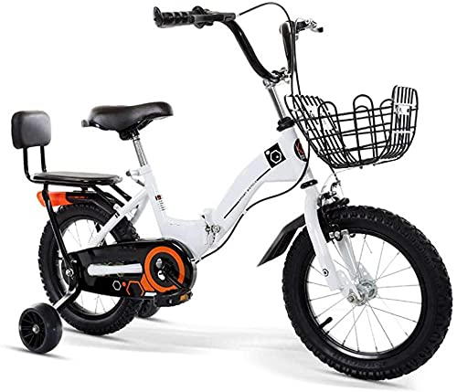 Bicicleta plegable para niños de 12 a 20 pulgadas para niños de 3 a 12 años/con cesta auxiliar rueda/marco tripulado (5 colores) - blanco_46,7 cm
