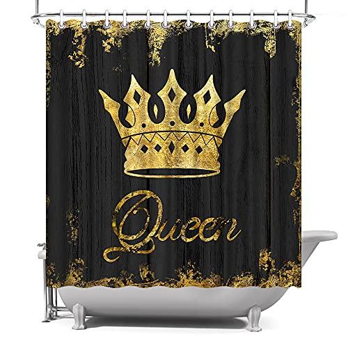 AtGoWac African American Gold Queen Crown Duschvorhang 182,9 x 182,9 cm schwarz & gold rustikaler Duschvorhang mit Haken Badezimmer Dekor