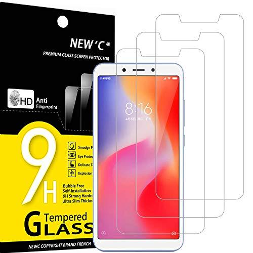 NEW'C 3 Stück, Schutzfolie Panzerglas für Xiaomi Redmi 6, Xiaomi Redmi 6A, Frei von Kratzern, 9H Festigkeit, HD Bildschirmschutzfolie, 0.33mm Ultra-klar, Ultrawiderstandsfähig